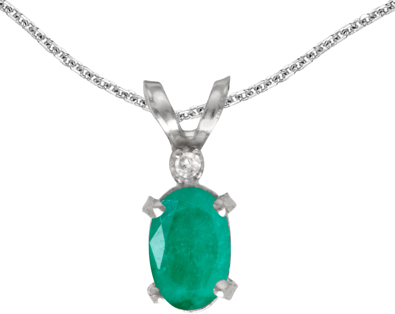 14k White Gold Oval Emerald And Diamond Filigree Pendant (Chain NOT included)