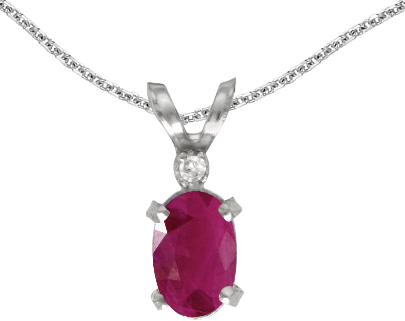 14k White Gold Oval Ruby And Diamond Filigree Pendant (Chain NOT included)