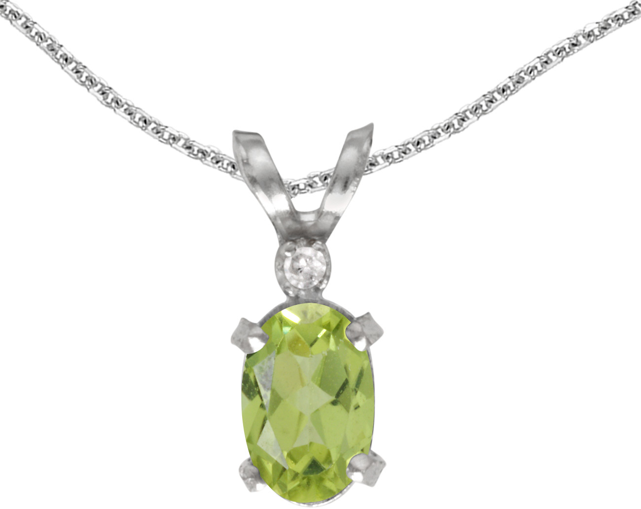 14k White Gold Oval Peridot And Diamond Filigree Pendant (Chain NOT included)