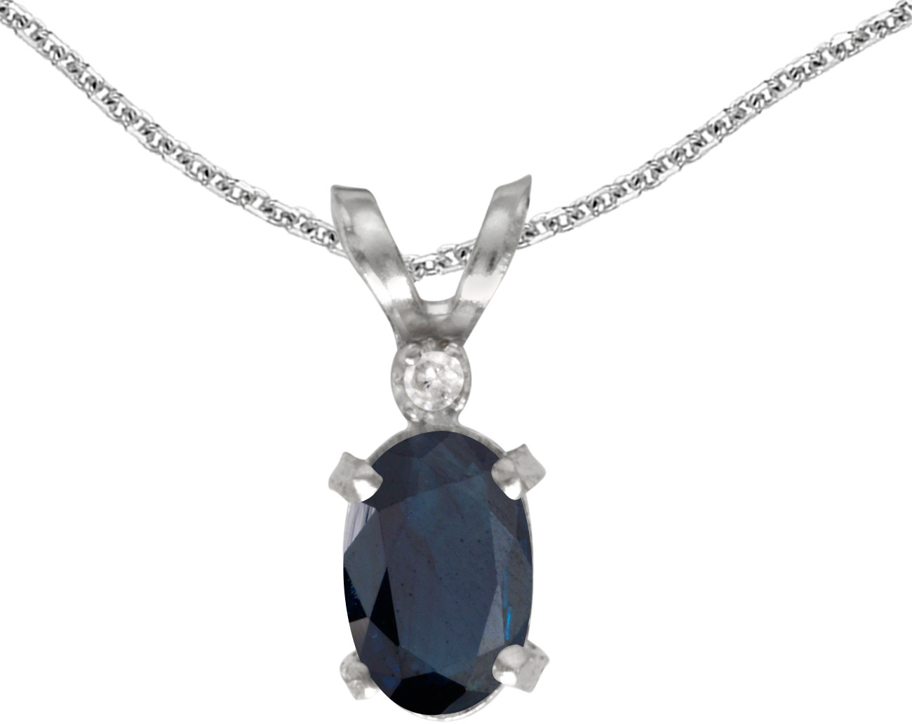 14k White Gold Oval Sapphire And Diamond Filigree Pendant (Chain NOT included)