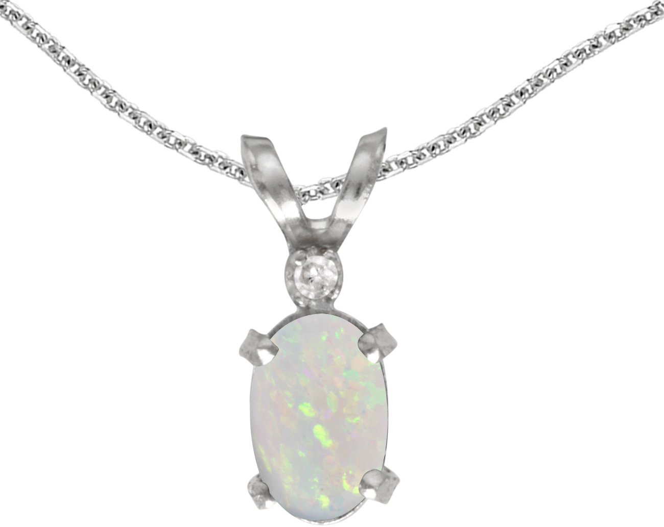 14k White Gold Oval Opal And Diamond Filigree Pendant (Chain NOT included)
