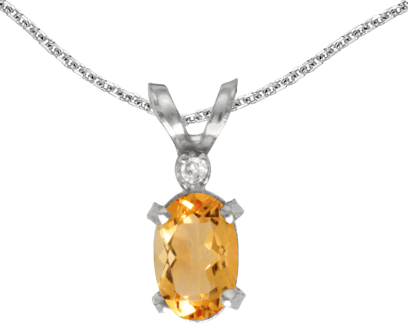 14k White Gold Oval Citrine And Diamond Filigree Pendant (Chain NOT included)