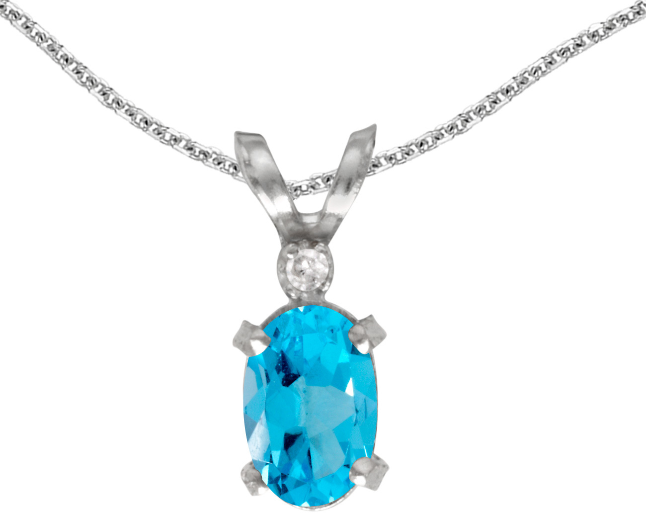 14k White Gold Oval Blue Topaz And Diamond Filigree Pendant (Chain NOT included)