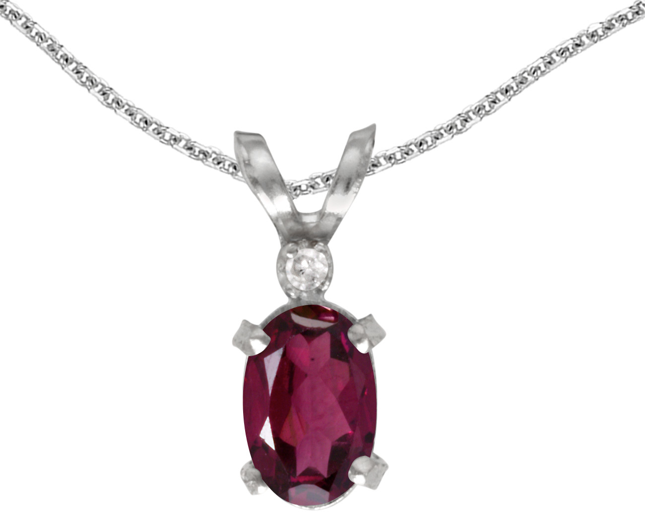 14k White Gold Oval Rhodolite Garnet And Diamond Filigree Pendant (Chain NOT included)