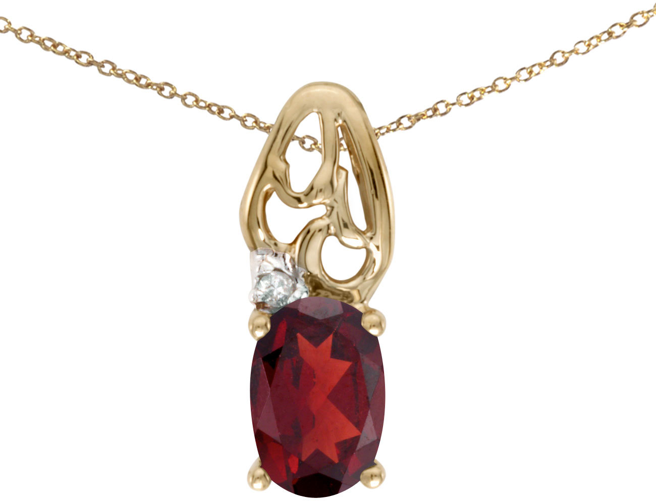 14k Yellow Gold Oval Garnet And Diamond Pendant (Chain NOT included) (CM-P2582X-01)