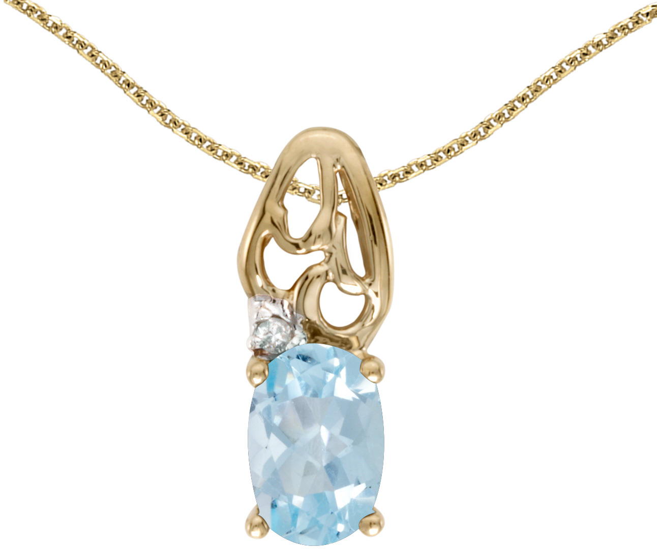 14k Yellow Gold Oval Aquamarine And Diamond Pendant (Chain NOT included) (CM-P2582X-03)