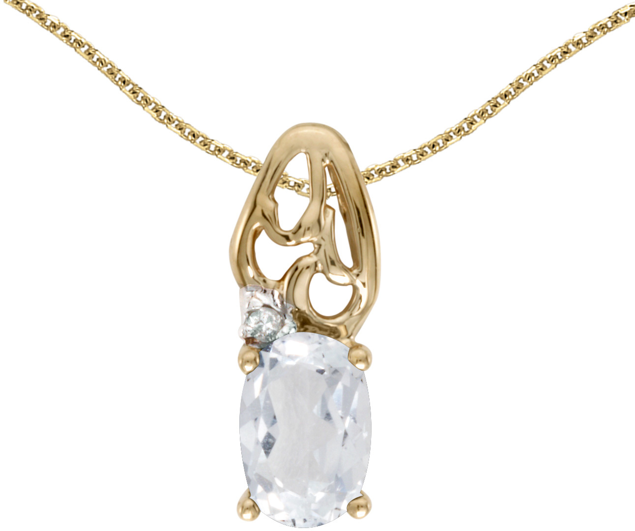 14k Yellow Gold Oval White Topaz And Diamond Pendant (Chain NOT included) (CM-P2582X-04)