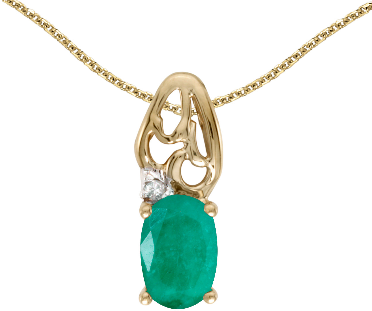 14k Yellow Gold Oval Emerald And Diamond Pendant (Chain NOT included) (CM-P2582X-05)