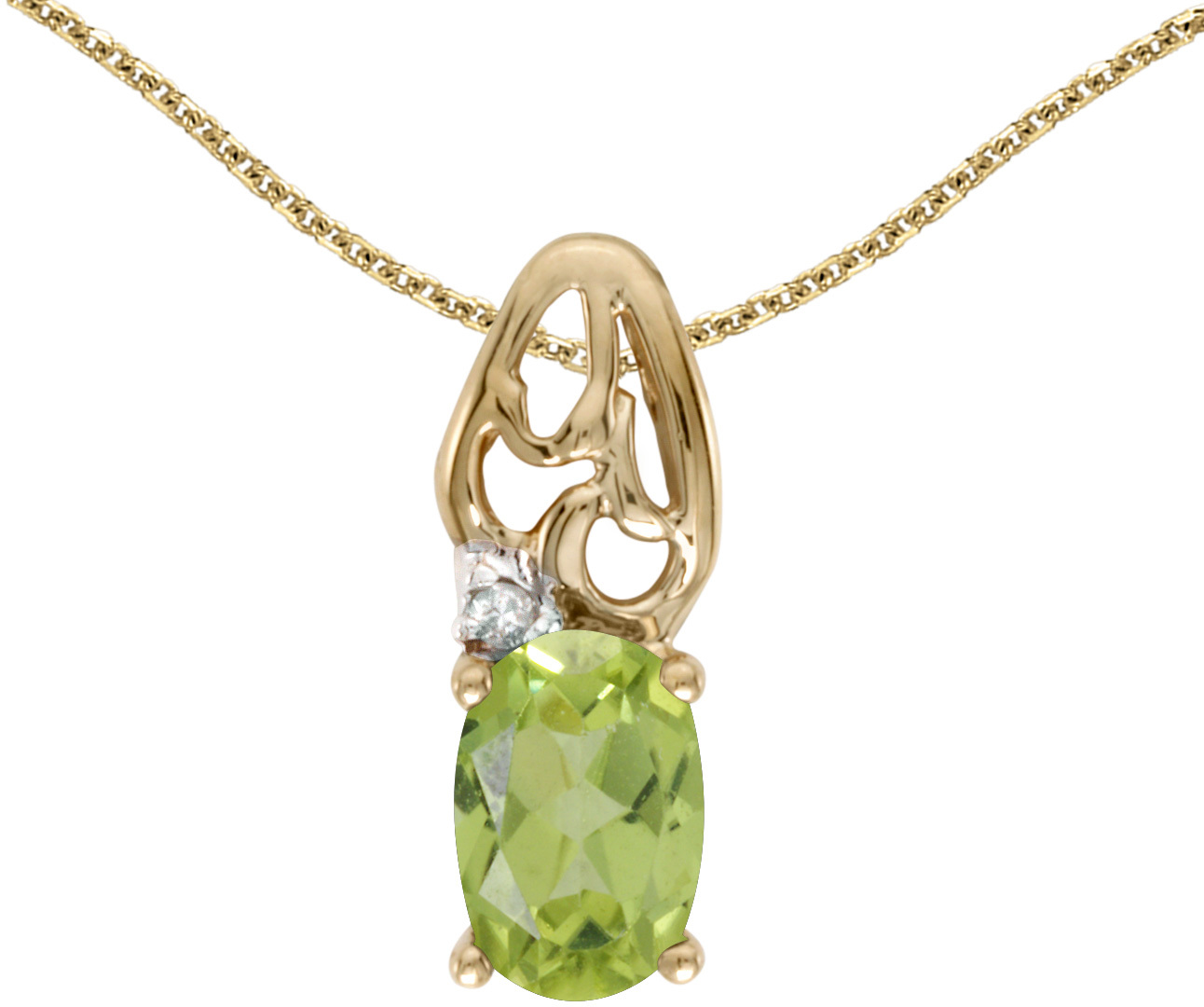 14k Yellow Gold Oval Peridot And Diamond Pendant (Chain NOT included) (CM-P2582X-08)