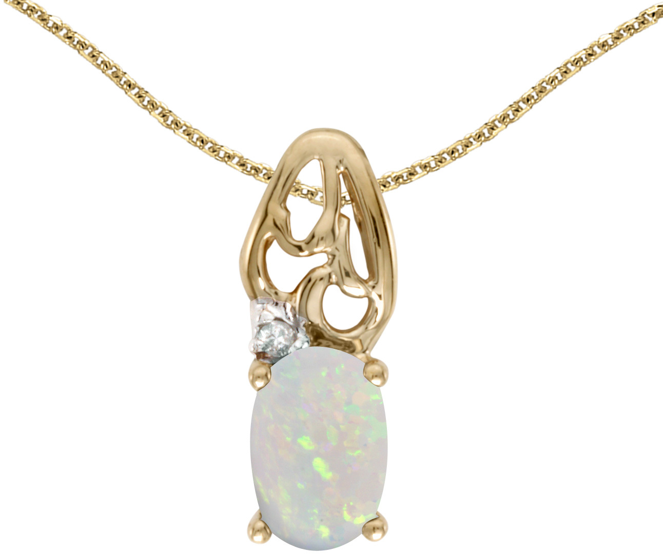 14k Yellow Gold Oval Opal And Diamond Pendant (Chain NOT included) (CM-P2582X-10)