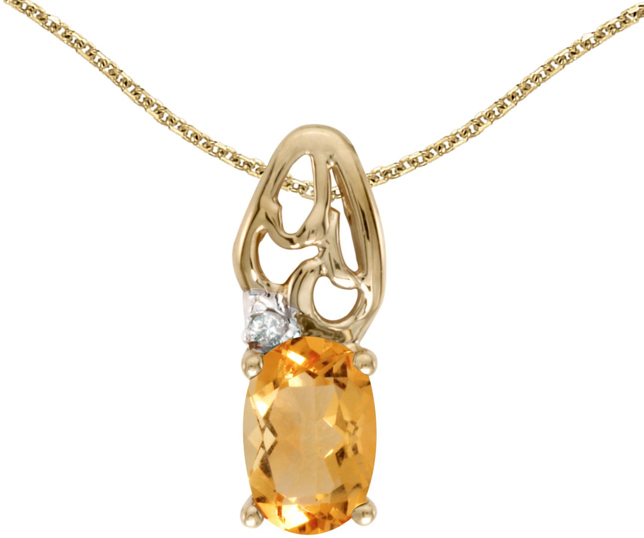 14k Yellow Gold Oval Citrine And Diamond Pendant (Chain NOT included) (CM-P2582X-11)