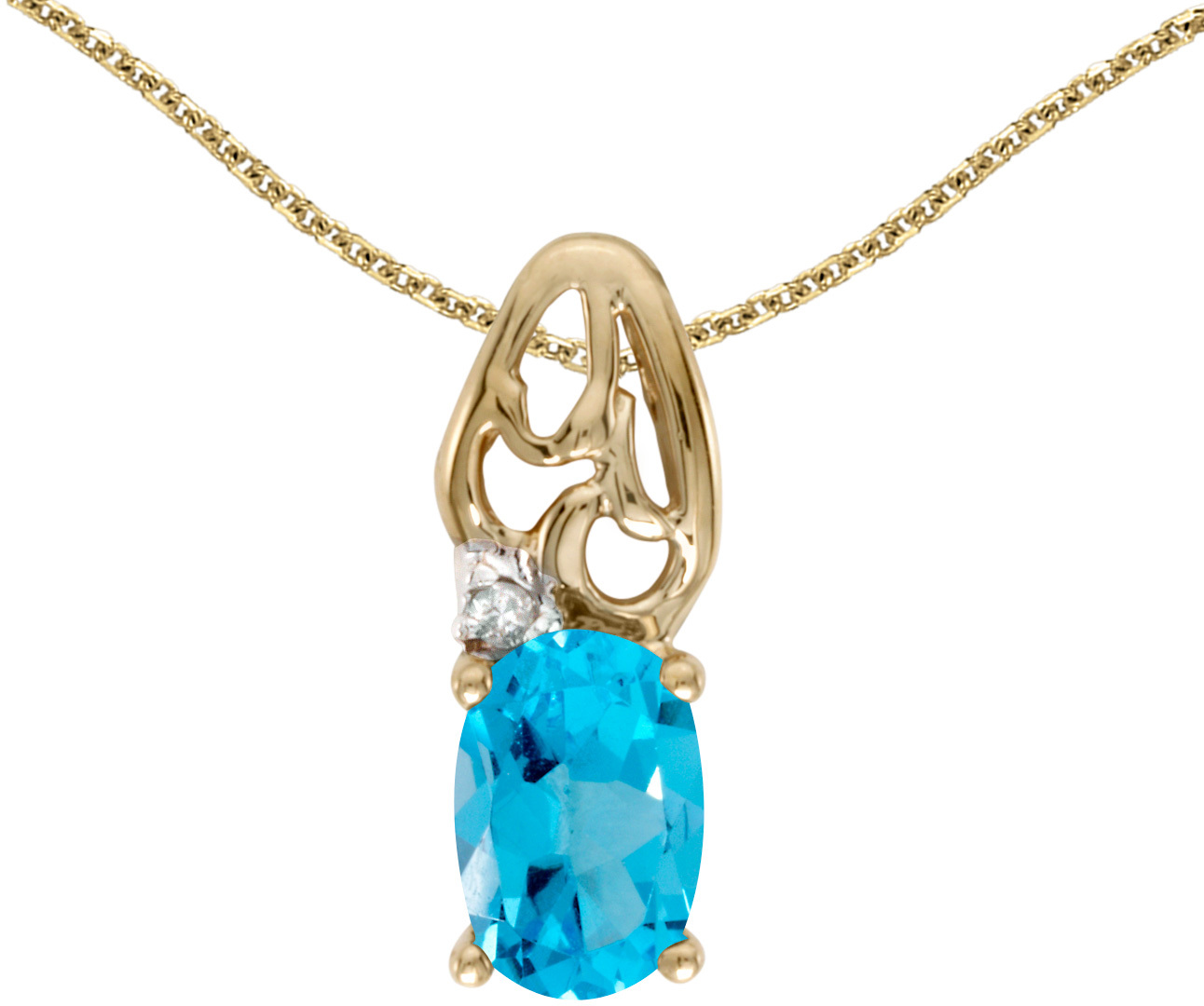 14k Yellow Gold Oval Blue Topaz And Diamond Pendant (Chain NOT included) (CM-P2582X-12)