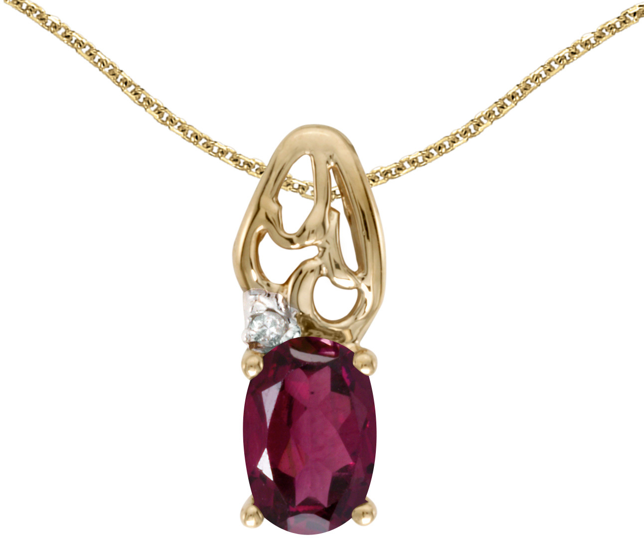 14k Yellow Gold Oval Rhodolite Garnet And Diamond Pendant (Chain NOT included) (CM-P2582X-RG)