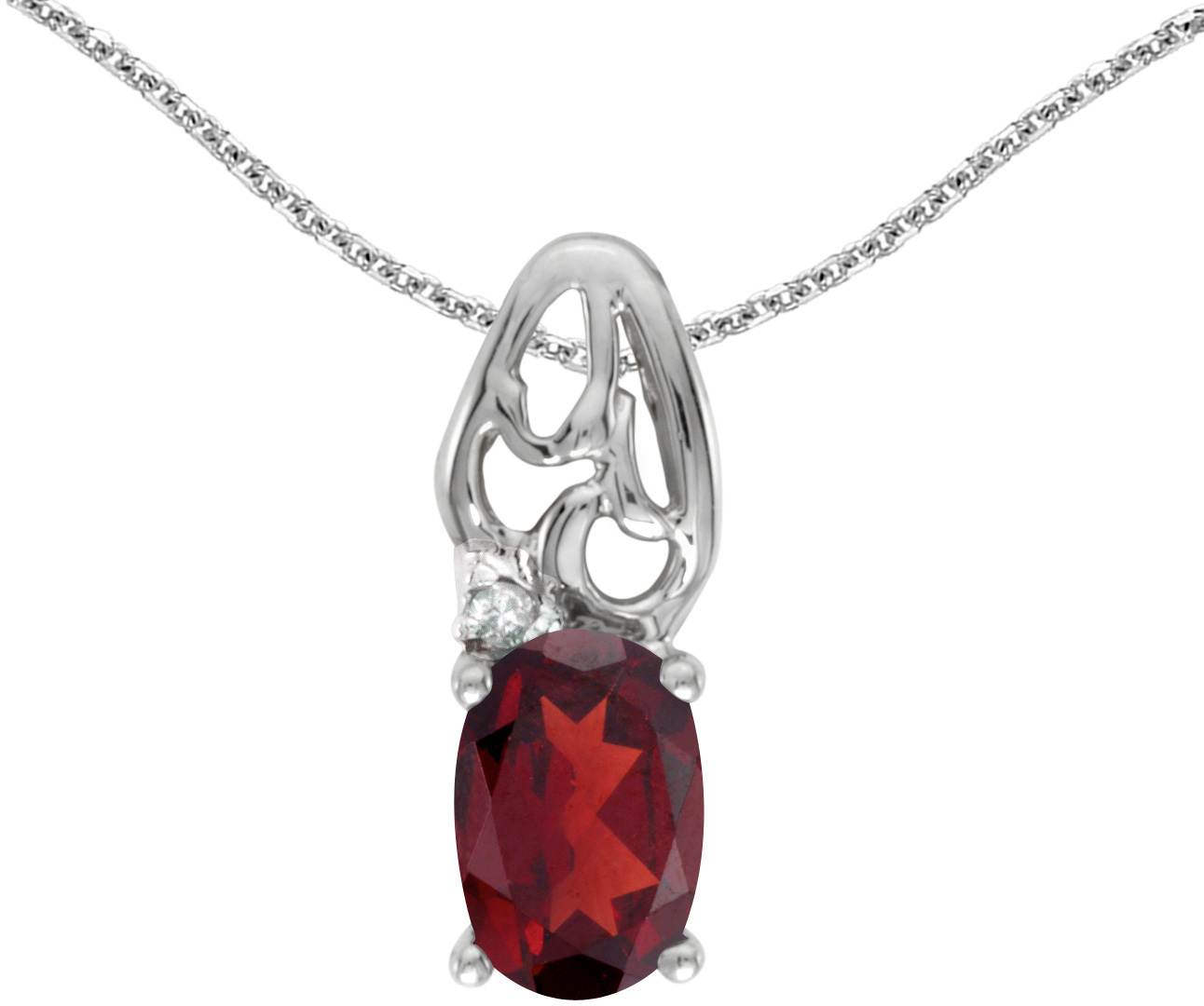 14k White Gold Oval Garnet And Diamond Pendant (Chain NOT included) (CM-P2582XW-01)