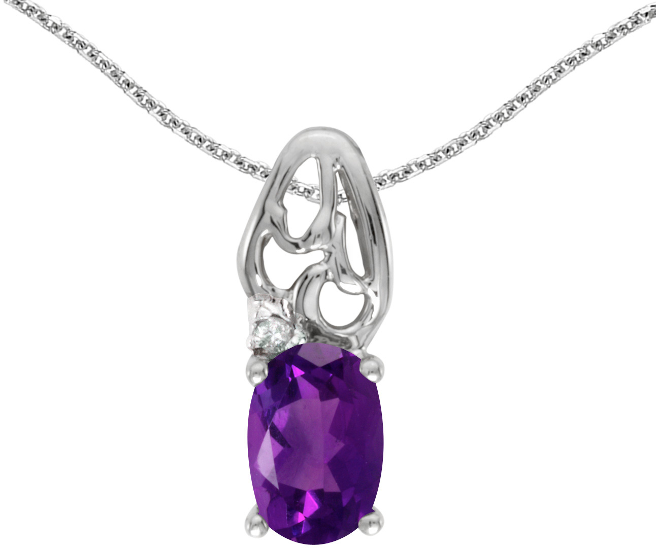14k White Gold Oval Amethyst And Diamond Pendant (Chain NOT included) (CM-P2582XW-02)