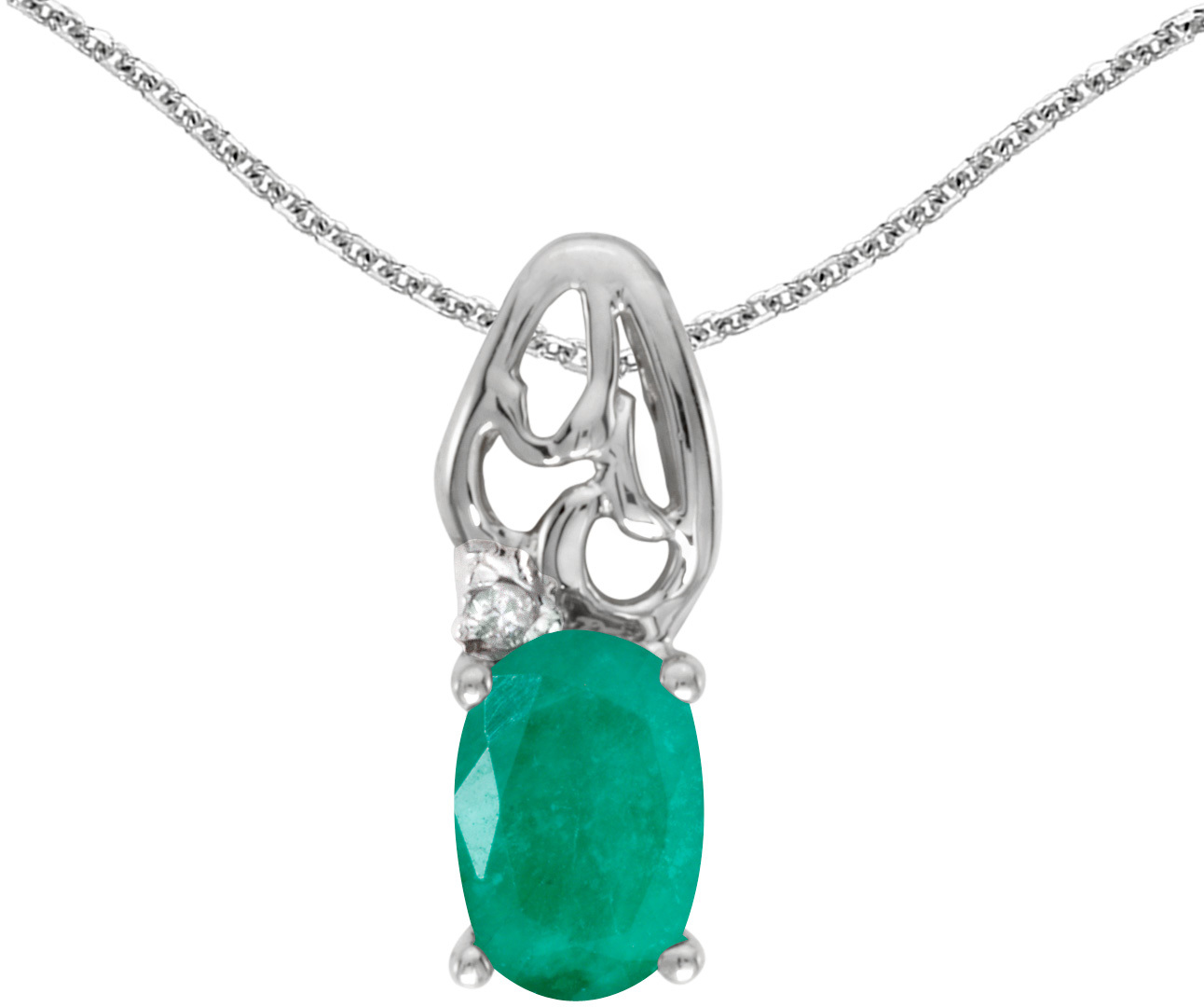 14k White Gold Oval Emerald And Diamond Pendant (Chain NOT included) (CM-P2582XW-05)
