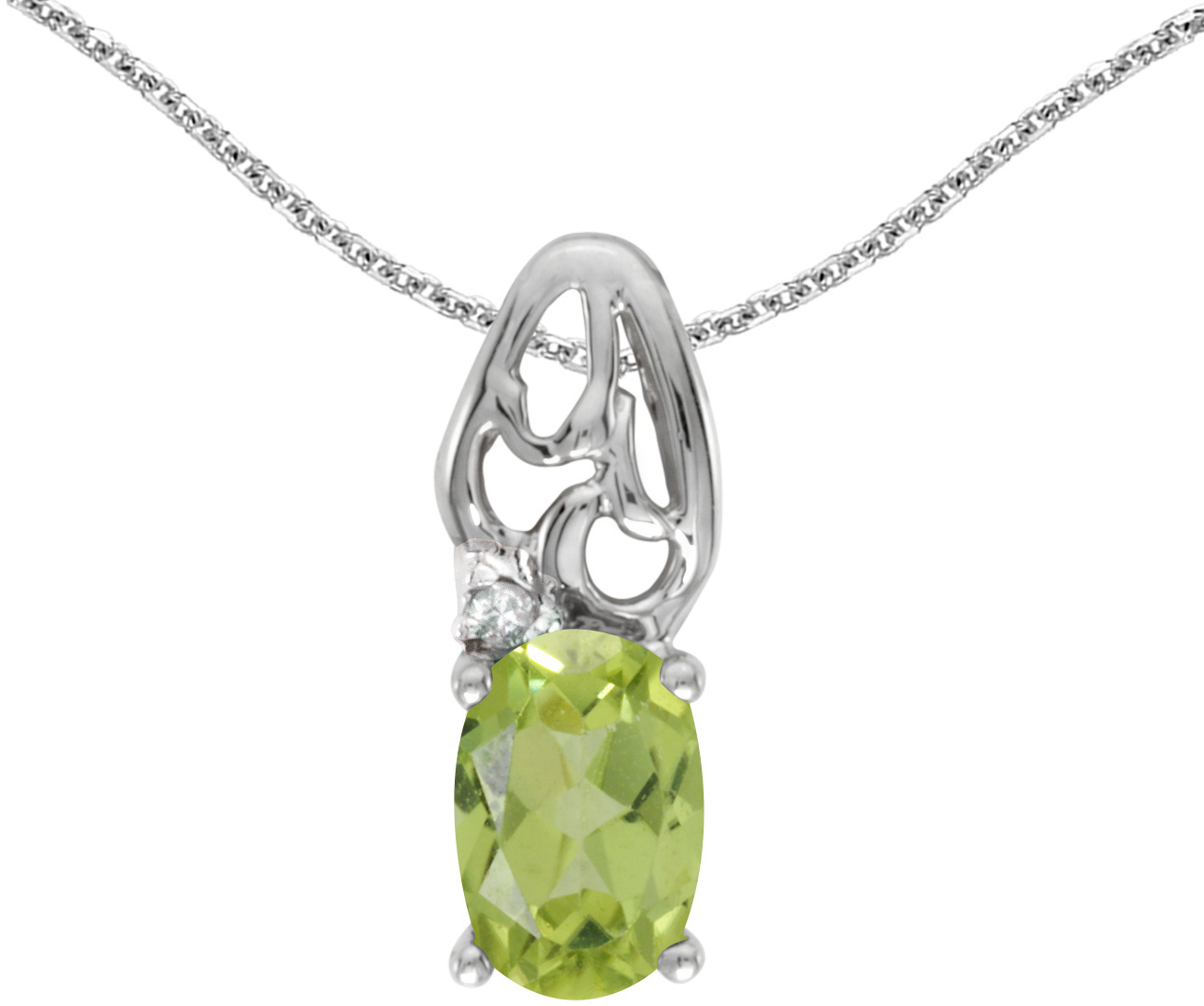 14k White Gold Oval Peridot And Diamond Pendant (Chain NOT included) (CM-P2582XW-08)