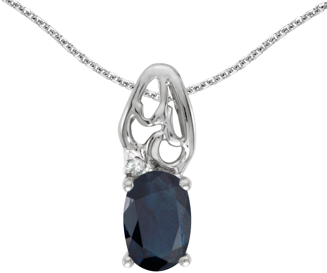 14k White Gold Oval Sapphire And Diamond Pendant (Chain NOT included) (CM-P2582XW-09)