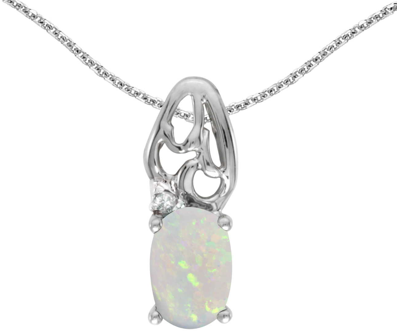 14k White Gold Oval Opal And Diamond Pendant (Chain NOT included) (CM-P2582XW-10)