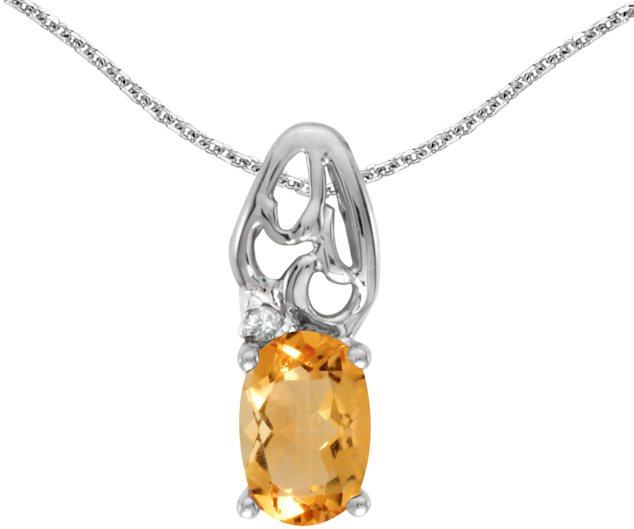14k White Gold Oval Citrine And Diamond Pendant (Chain NOT included) (CM-P2582XW-11)