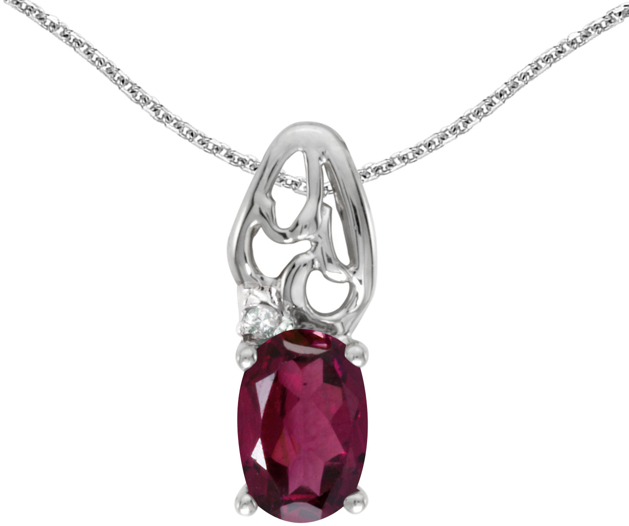 14k White Gold Oval Rhodolite Garnet And Diamond Pendant (Chain NOT included) (CM-P2582XW-RG)