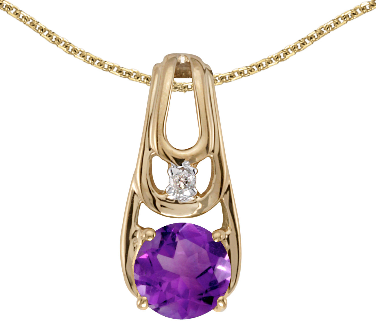 14k Yellow Gold Round Amethyst And Diamond Pendant (Chain NOT included)