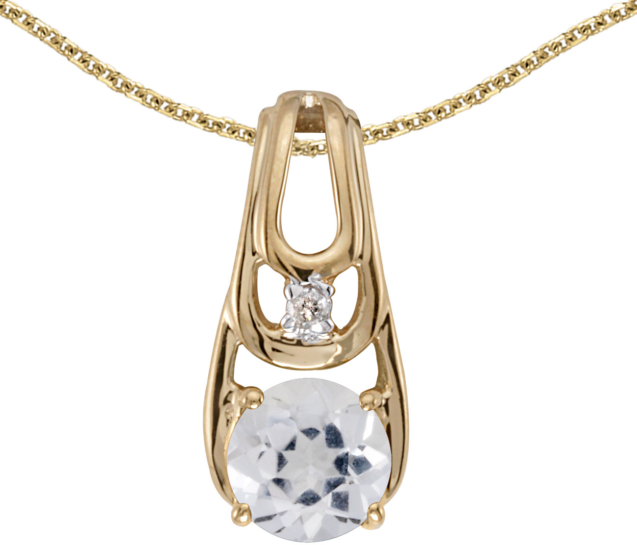 14k Yellow Gold Round White Topaz And Diamond Pendant (Chain NOT included)