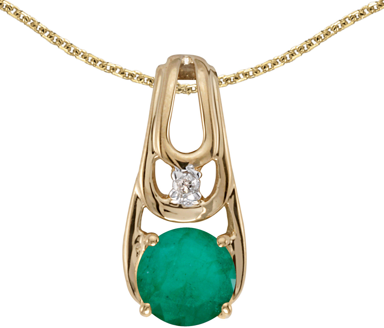 14k Yellow Gold Round Emerald And Diamond Pendant (Chain NOT included)