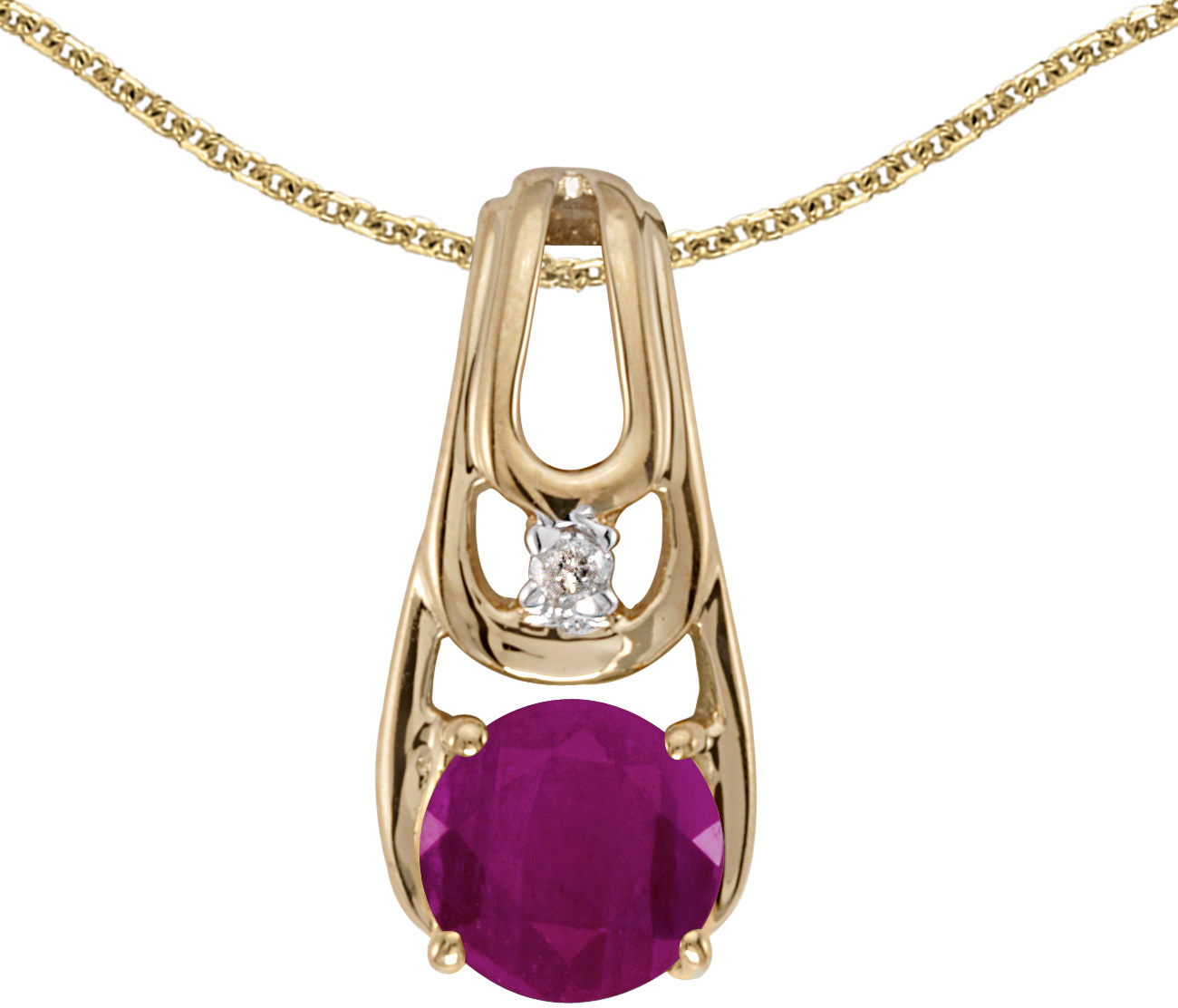 14k Yellow Gold Round Ruby And Diamond Pendant (Chain NOT included)