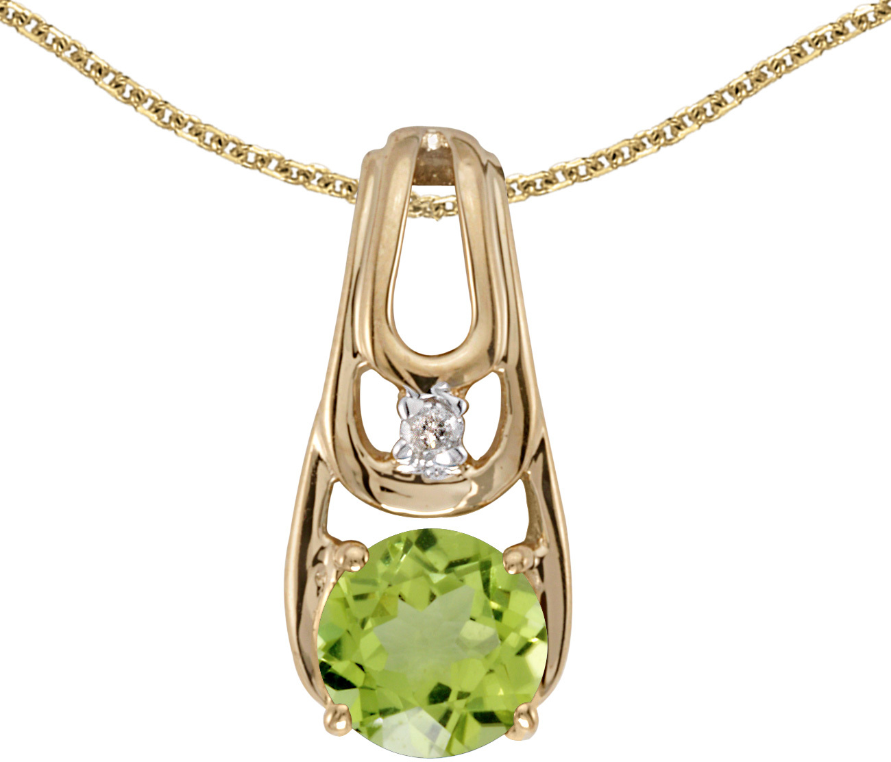14k Yellow Gold Round Peridot And Diamond Pendant (Chain NOT included)