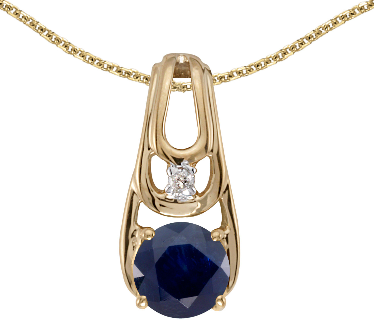 14k Yellow Gold Round Sapphire And Diamond Pendant (Chain NOT included)