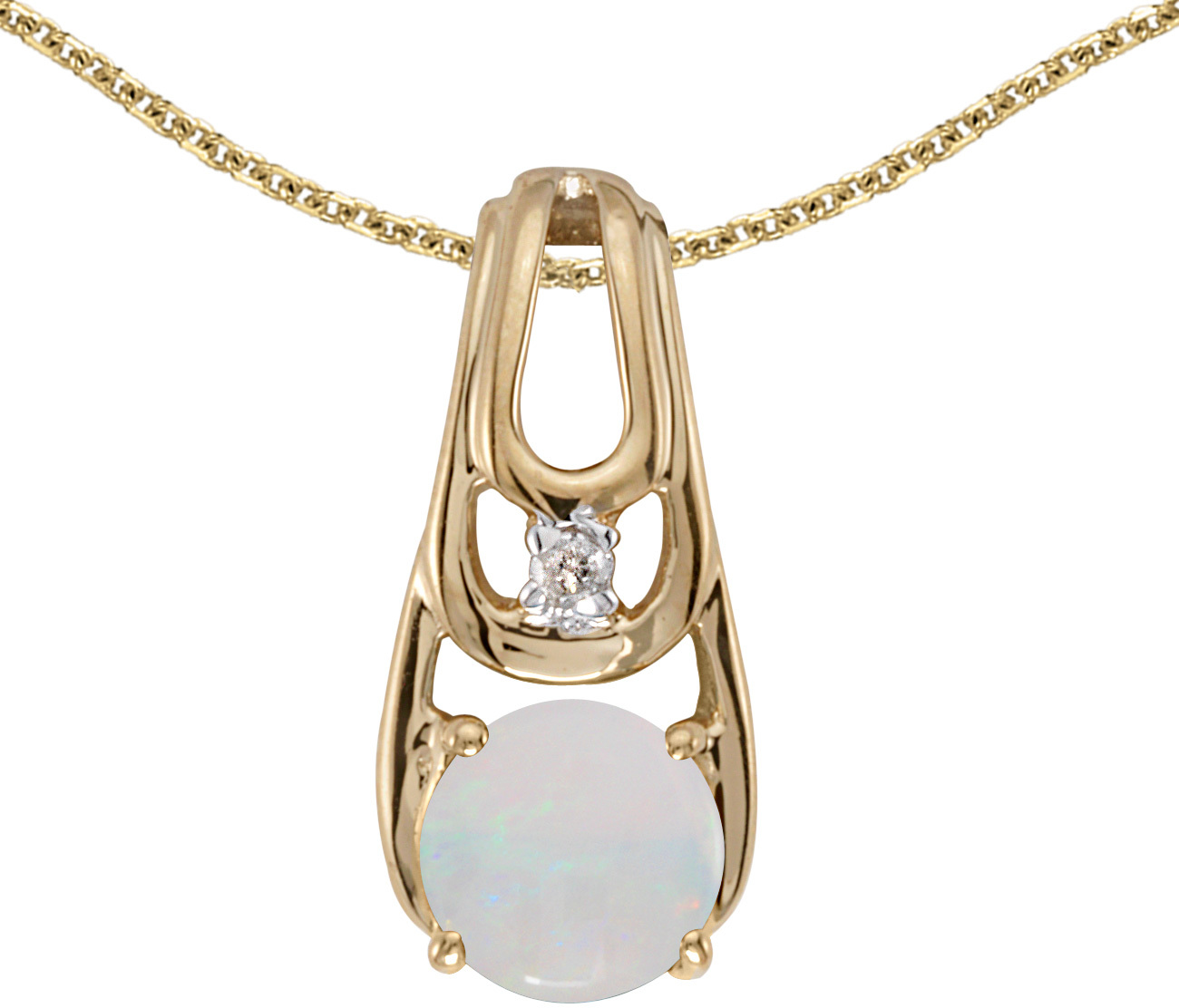 14k Yellow Gold Round Opal And Diamond Pendant (Chain NOT included)