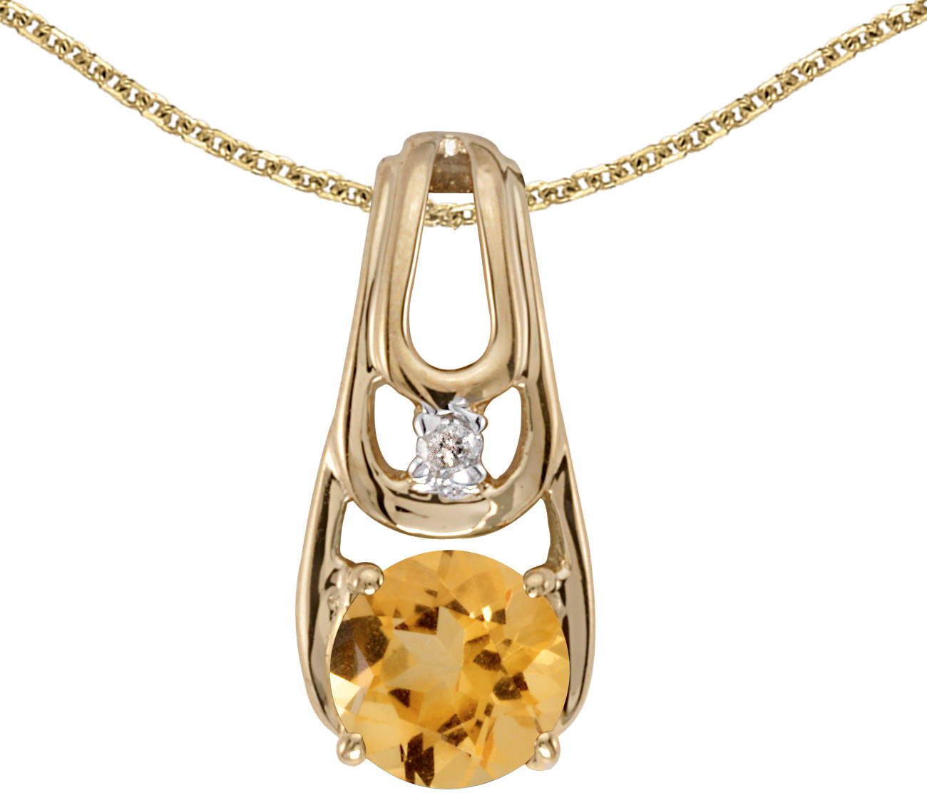 14k Yellow Gold Round Citrine And Diamond Pendant (Chain NOT included)