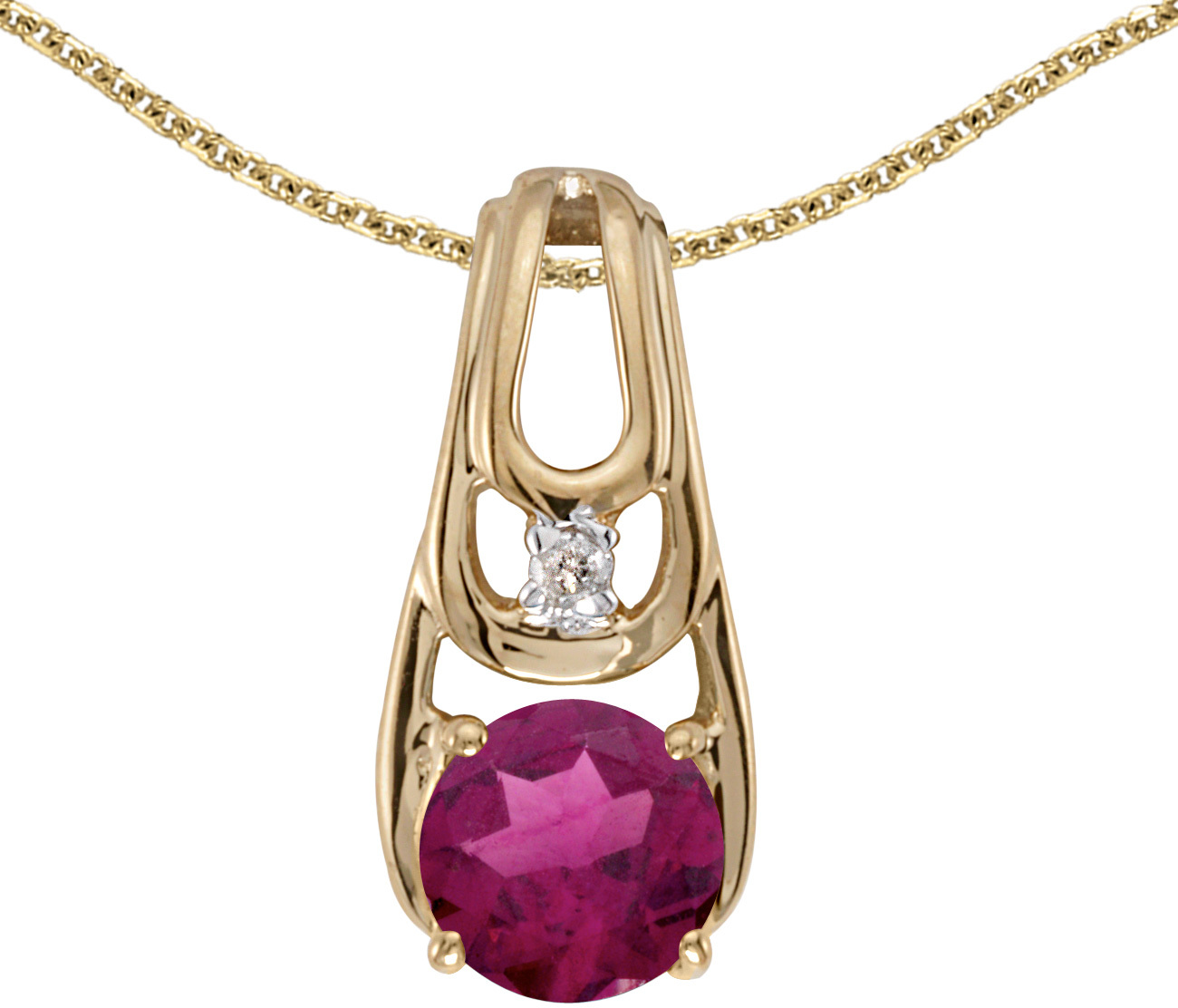 14k Yellow Gold Round Rhodolite Garnet And Diamond Pendant (Chain NOT included) (CM-P2583X-RG)