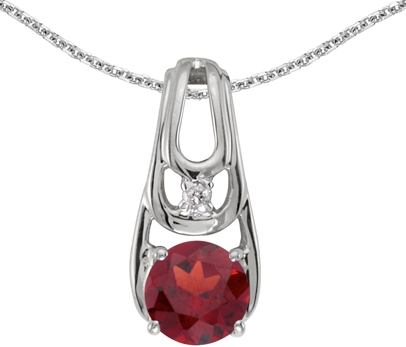 14k White Gold Round Garnet And Diamond Pendant (Chain NOT included)