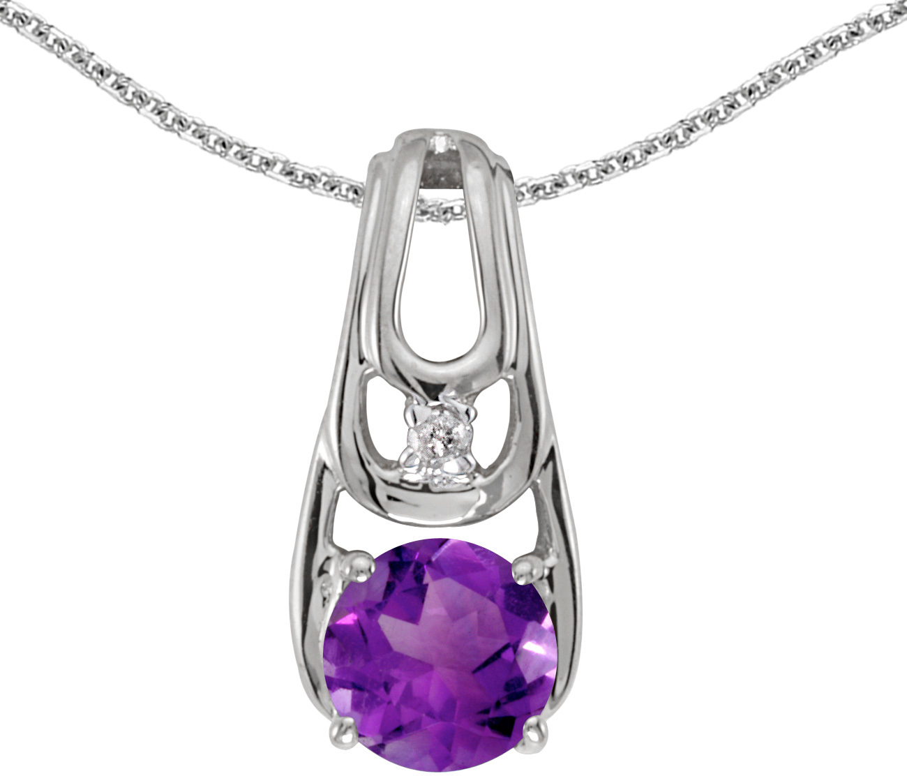 14k White Gold Round Amethyst And Diamond Pendant (Chain NOT included)
