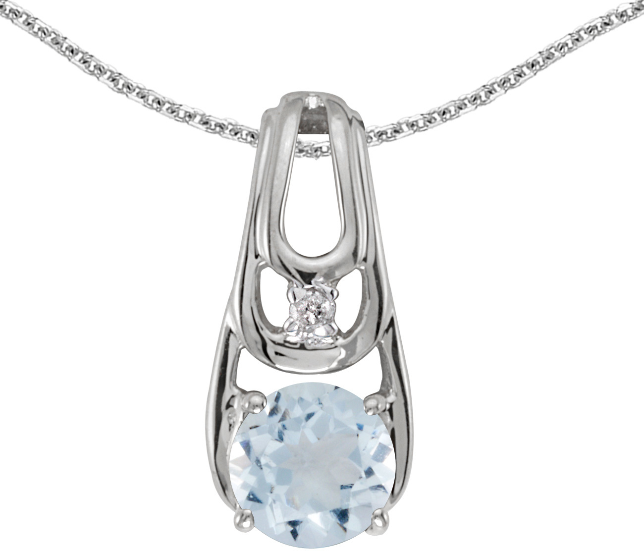 14k White Gold Round Aquamarine And Diamond Pendant (Chain NOT included)