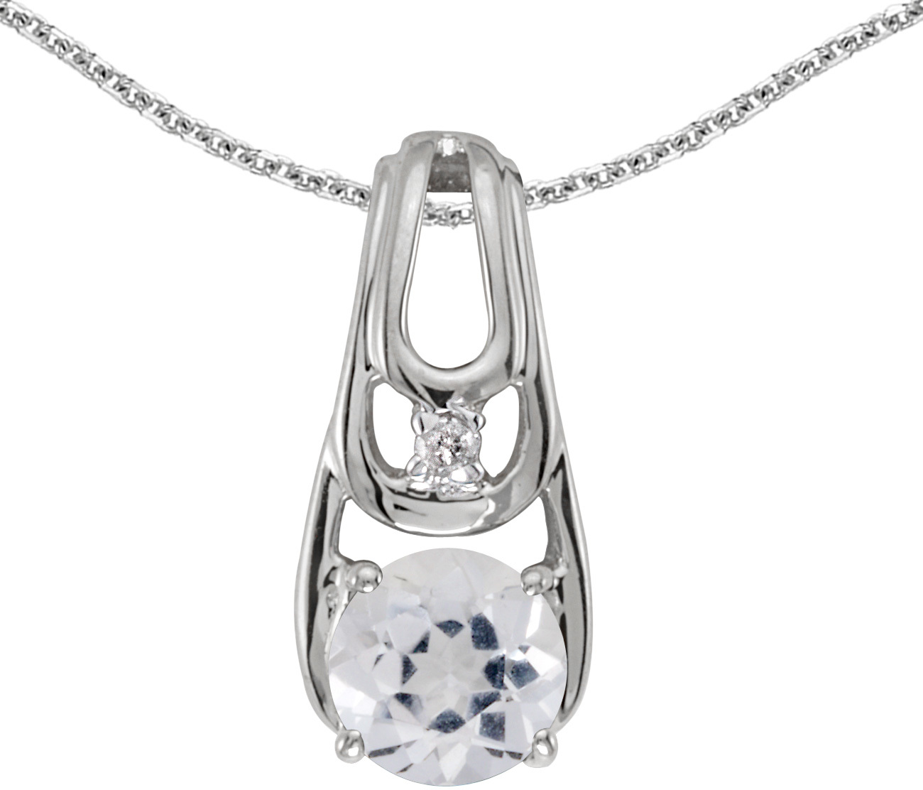 14k White Gold Round White Topaz And Diamond Pendant (Chain NOT included)