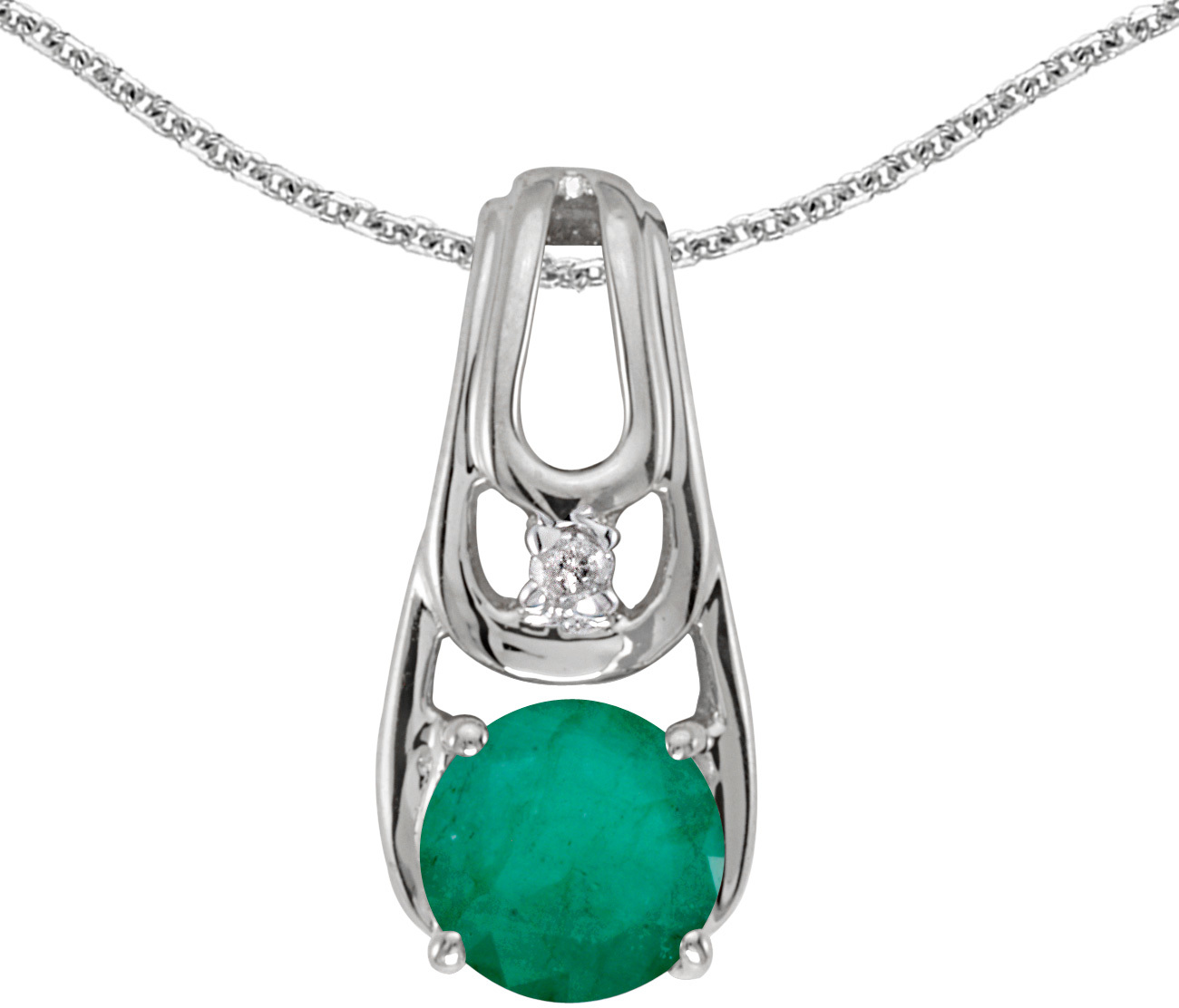 14k White Gold Round Emerald And Diamond Pendant (Chain NOT included)