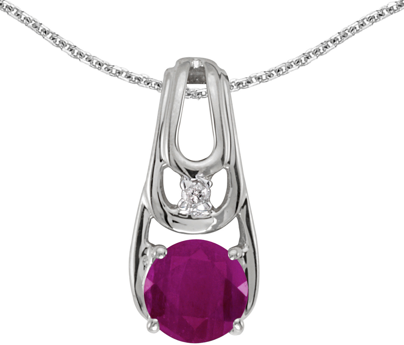 14k White Gold Round Ruby And Diamond Pendant (Chain NOT included) (CM-P2583XW-07)