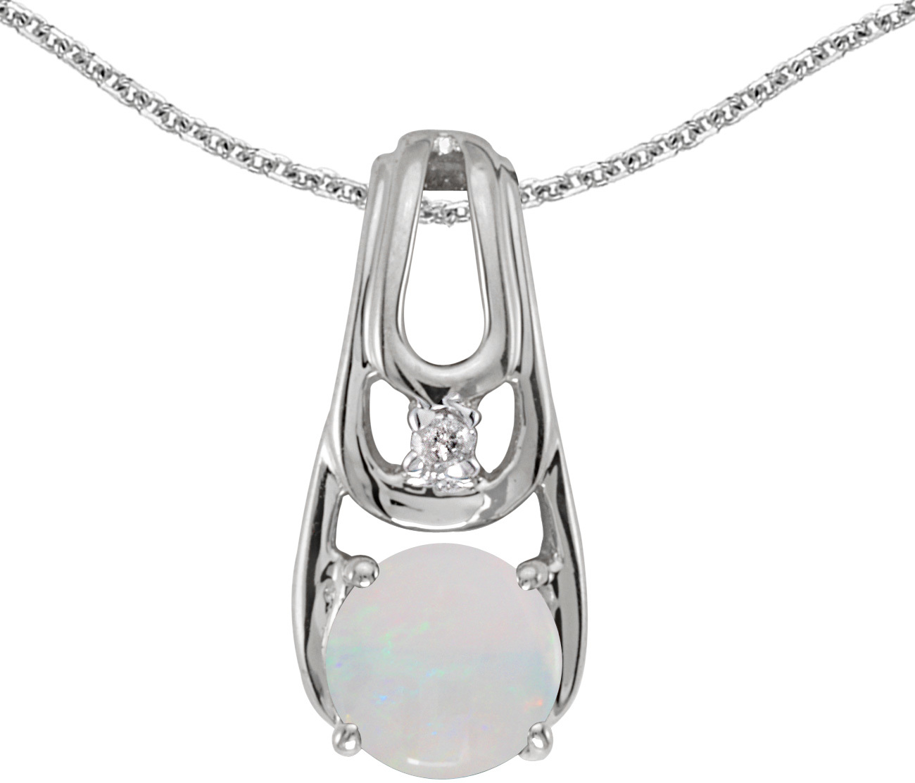 14k White Gold Round Opal And Diamond Pendant (Chain NOT included) (CM-P2583XW-10)