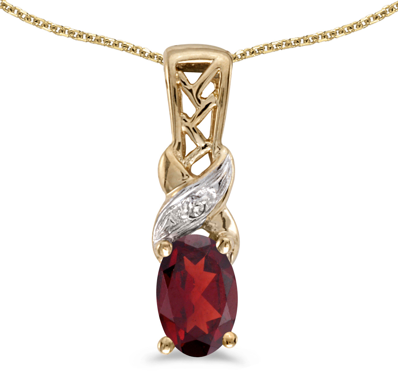 14k Yellow Gold Oval Garnet And Diamond Pendant (Chain NOT included) (CM-P2584X-01)