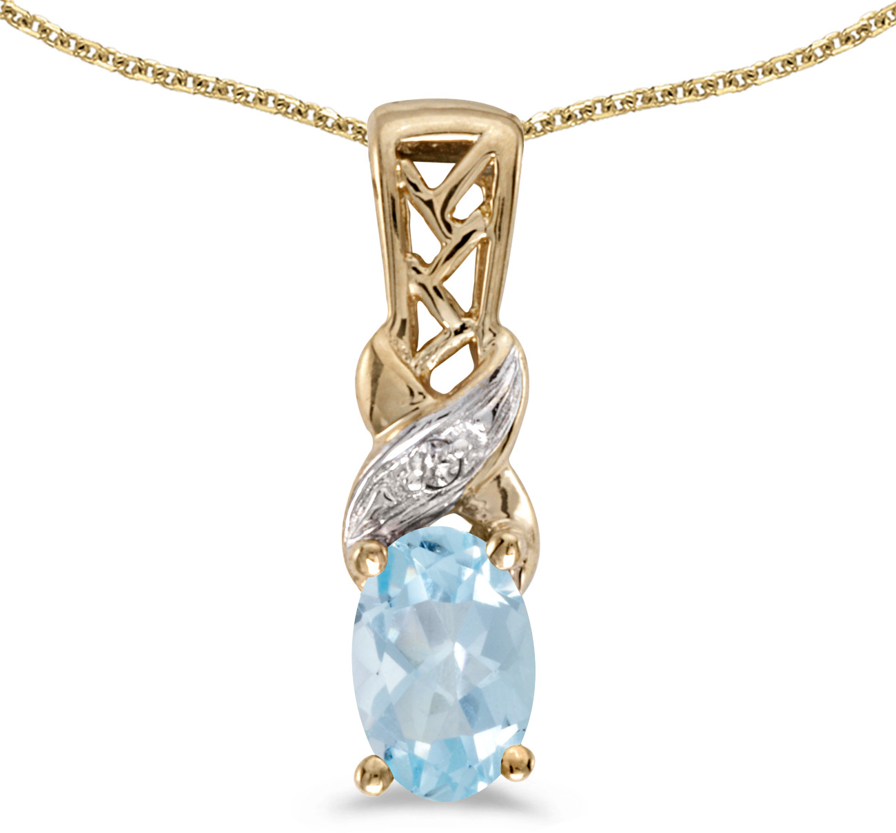 14k Yellow Gold Oval Aquamarine And Diamond Pendant (Chain NOT included) (CM-P2584X-03)