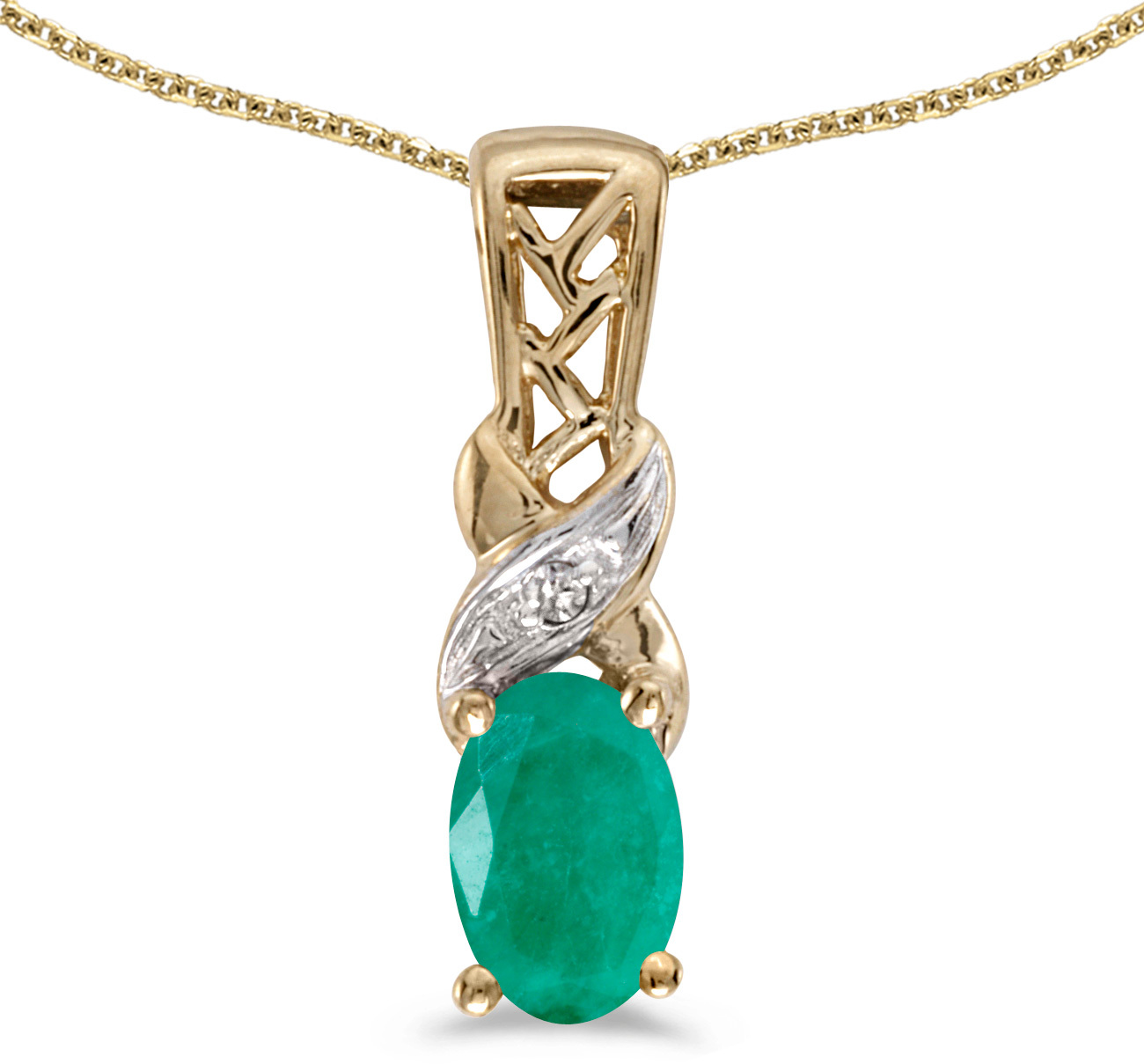 14k Yellow Gold Oval Emerald And Diamond Pendant (Chain NOT included) (CM-P2584X-05)
