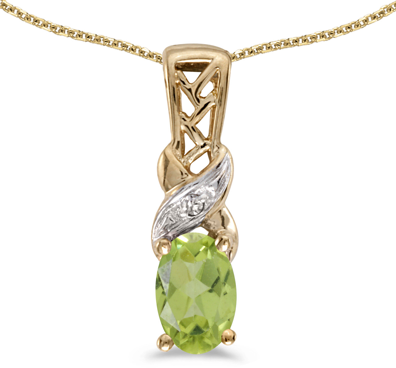 14k Yellow Gold Oval Peridot And Diamond Pendant (Chain NOT included) (CM-P2584X-08)