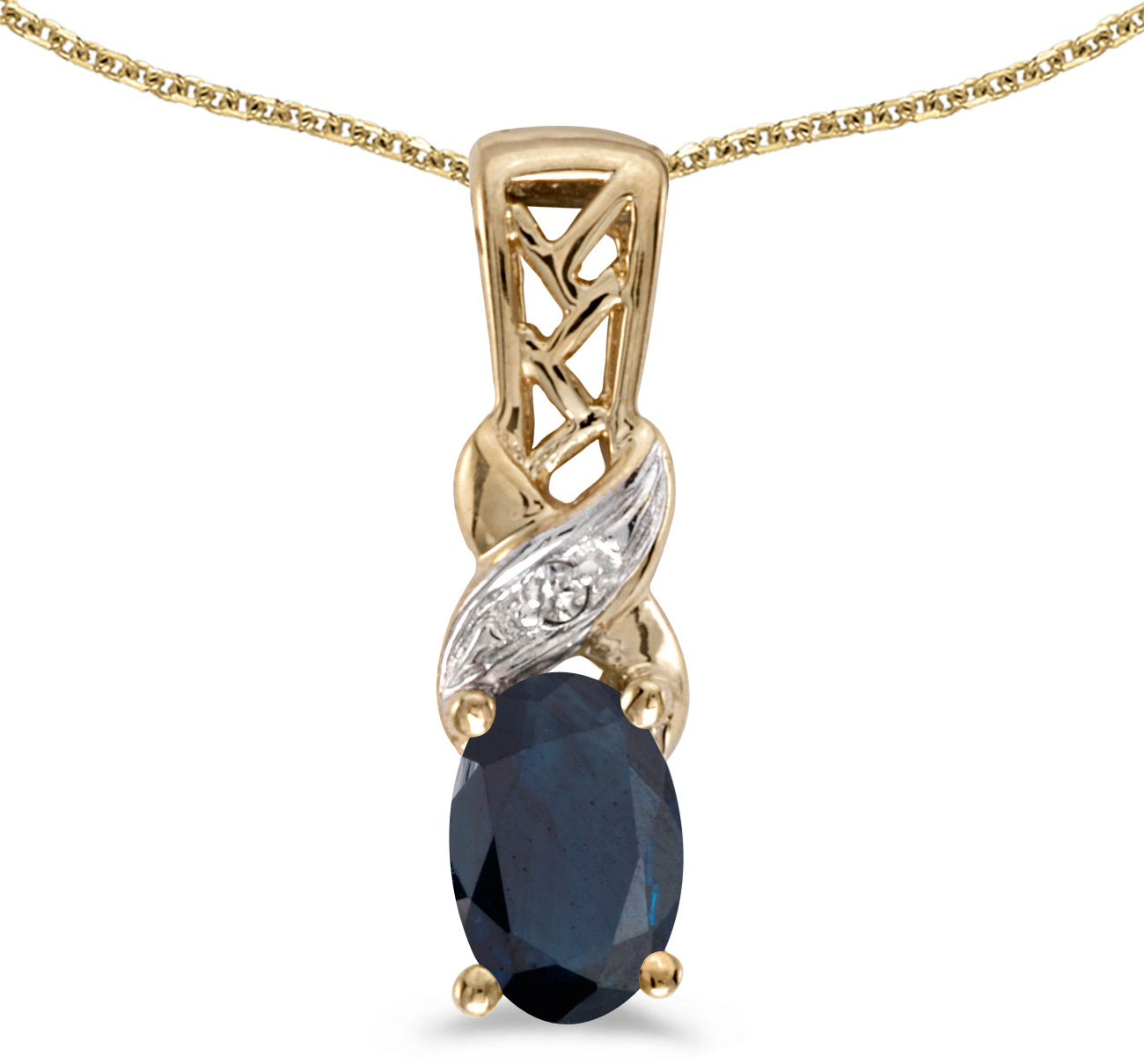14k Yellow Gold Oval Sapphire And Diamond Pendant (Chain NOT included) (CM-P2584X-09)