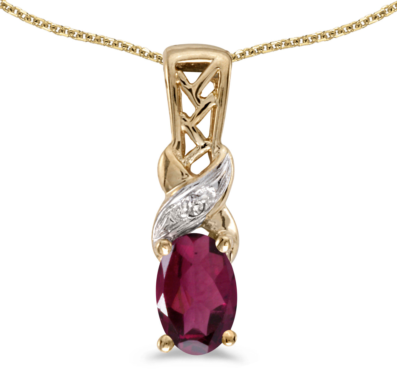 14k Yellow Gold Oval Rhodolite Garnet And Diamond Pendant (Chain NOT included) (CM-P2584X-RG)