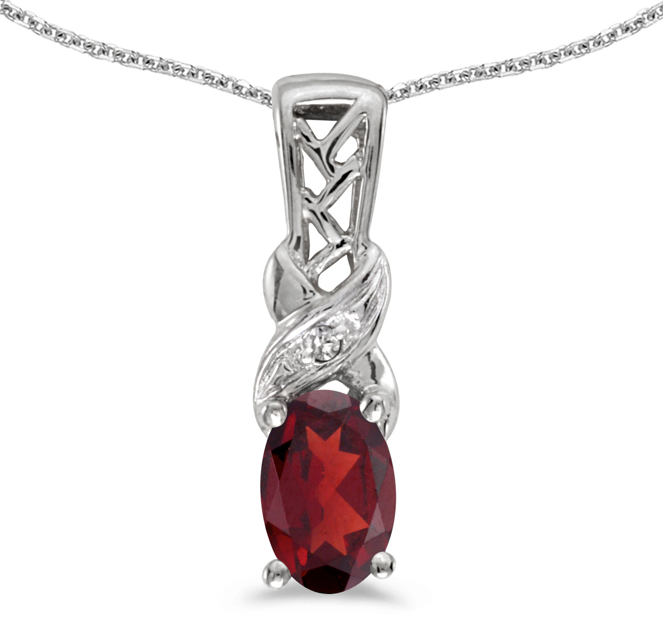 14k White Gold Oval Garnet And Diamond Pendant (Chain NOT included) (CM-P2584XW-01)