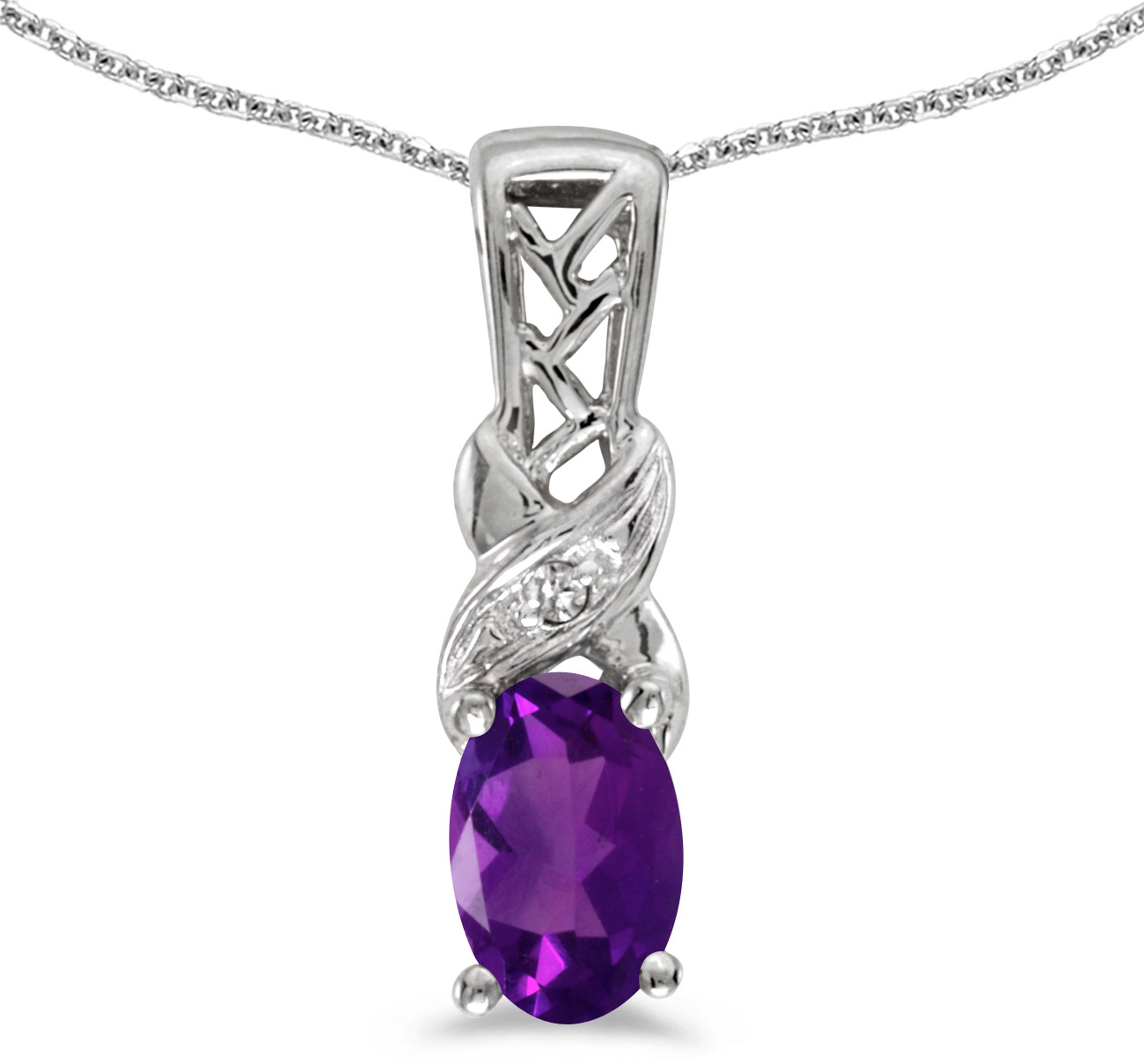 14k White Gold Oval Amethyst And Diamond Pendant (Chain NOT included) (CM-P2584XW-02)
