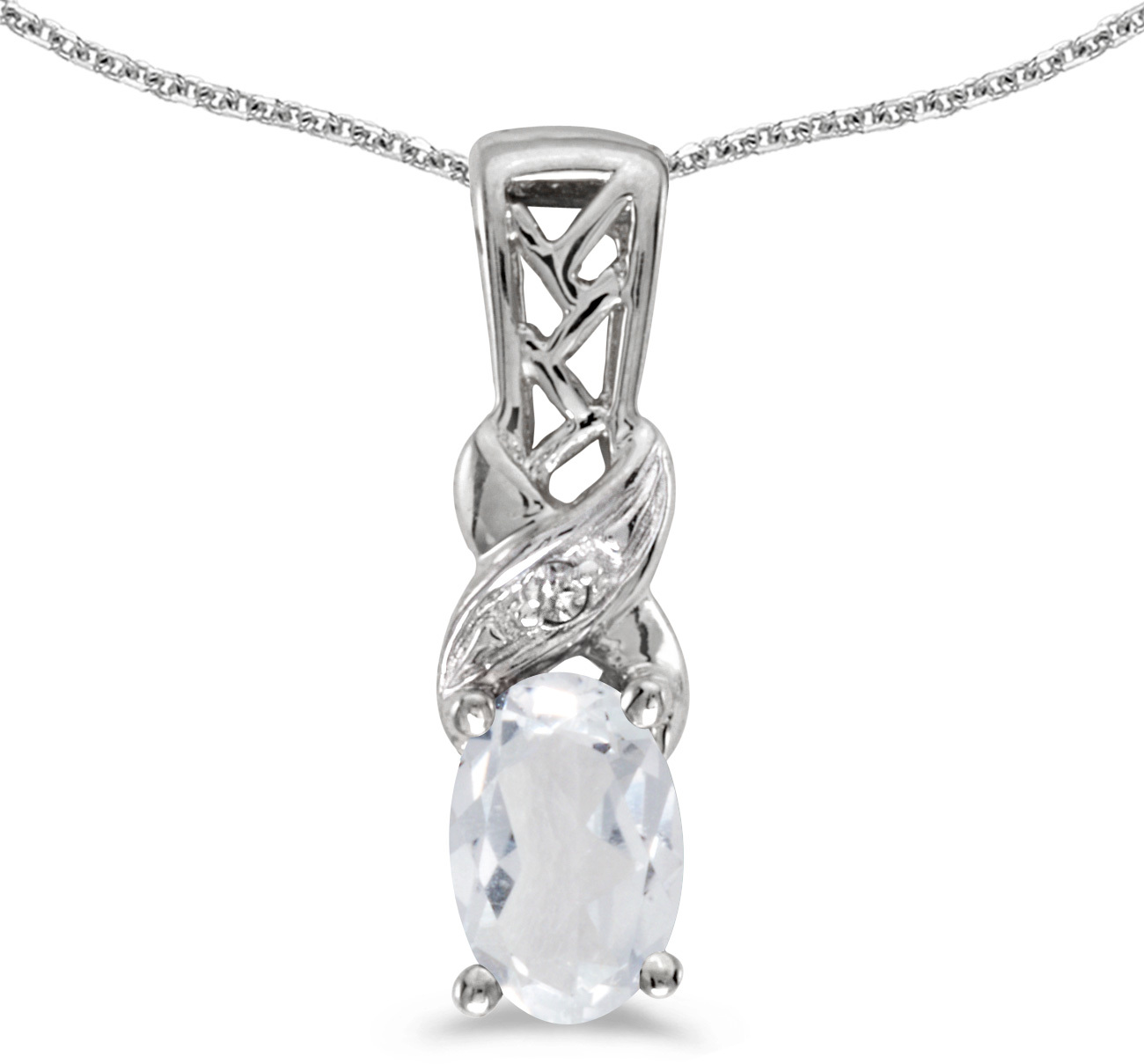 14k White Gold Oval White Topaz And Diamond Pendant (Chain NOT included) (CM-P2584XW-04)